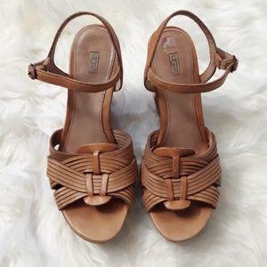 Ugg Melinda tan leather wedge platform sandals